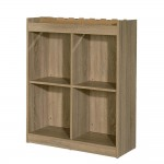 Buffet bas 4/8 cases VINNO 90x35x110cm coloris chêne authentique