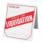 "Etiquette chevalet impression ""liquidation"" - 52x60mm  x500"