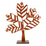 Feuille orange sur socle l 40 x p 8 x h47cm