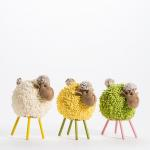 Mouton boule L 20 x H 24 cm -3 coloris possibles