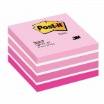 Post-it cube aquarelle rose 76 x 76 mm