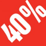 Sticker -40 % 3.3x3.3cm rouge/blanc par 500