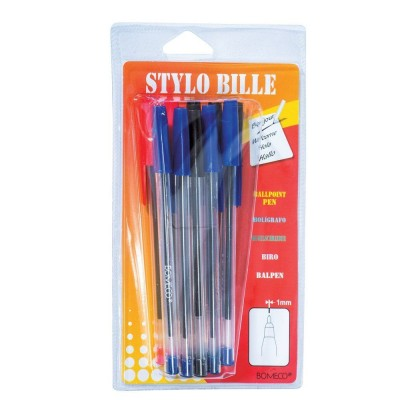 Blister 10 stylos bille assortis-Ecriture et correction