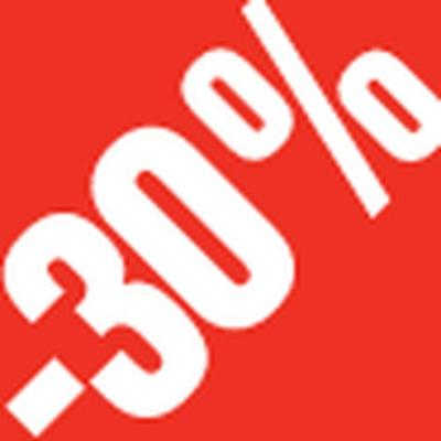 Sticker -30 % rouge /blanc 3.3x3.3cm par 500 -