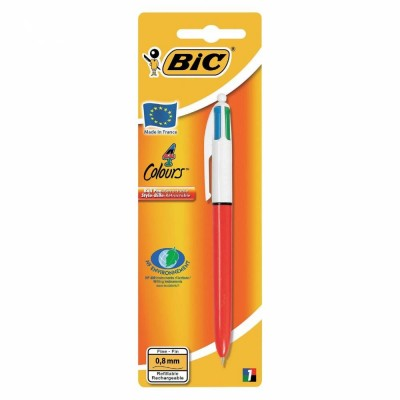 Stylo 4 couleurs Bic pointes fines 0.8mm-