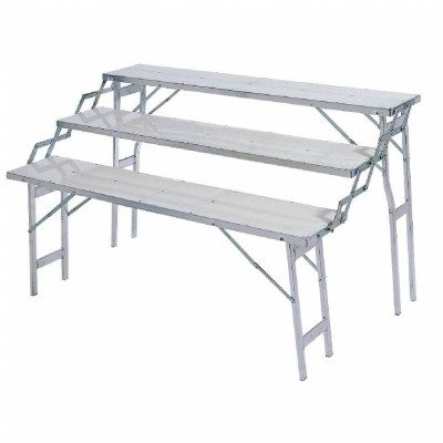 Table presentoir alu 3 niveaux 60 / 75 / 90 cm-Lits de camp forains