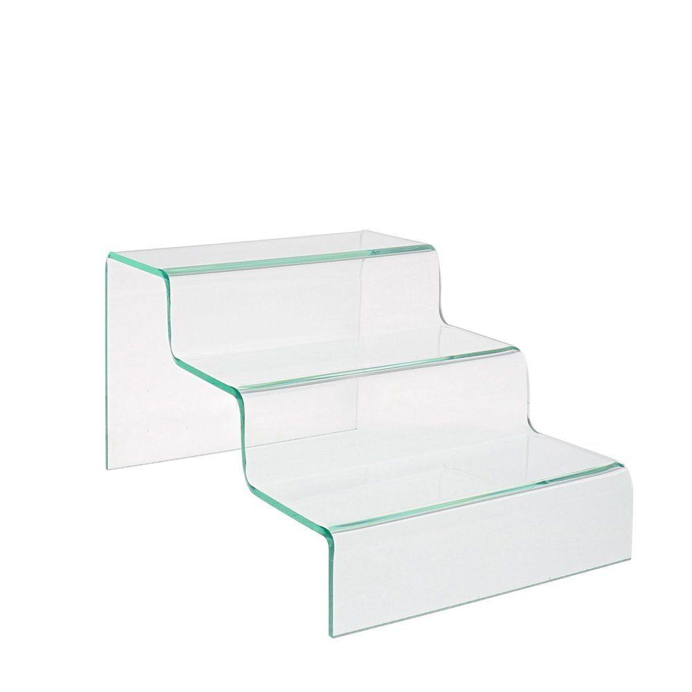 Pr sentoir escalier 3 marches aspect verre h 20 cm for Retif vitrine verre